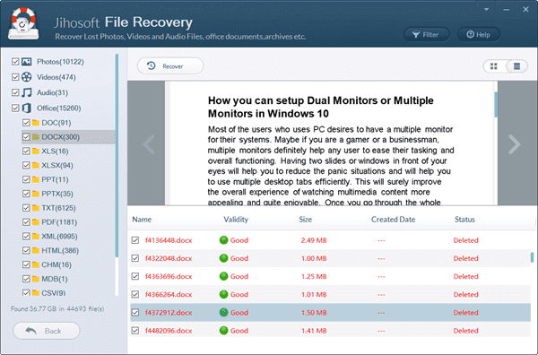 Preview and Recover deleted Word files.