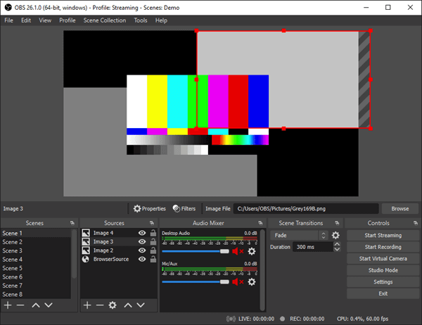 OBS Studio is a cross-platform screencasting software for video recording and live streaming available.