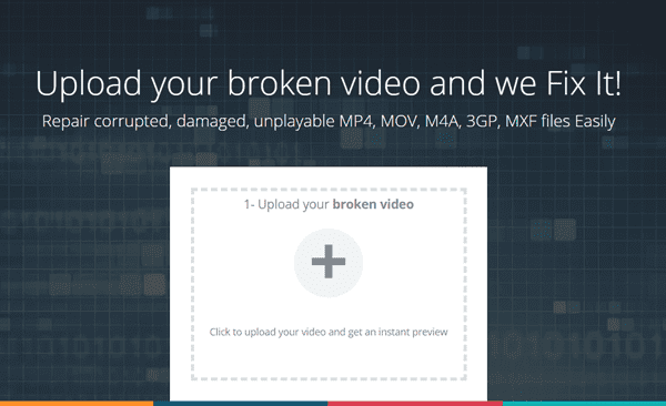 Unlike any other options in this article, Fix.video is an online tool for repairing corrupted videos.