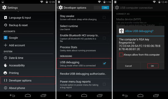 Enable Usb debugging on android 8
