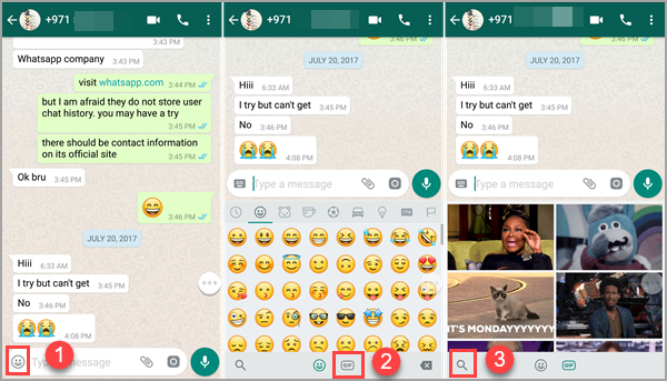 Send GIF on WhatsApp via Giphy