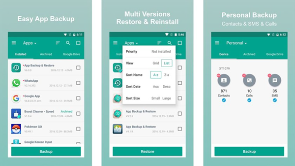 App Backup & Restore is one of the Top 10 Best Free Android Backup Apps 2019.