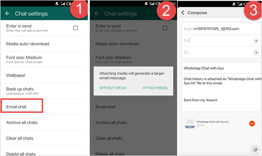 Using Email to Move WhatsApp Chat History