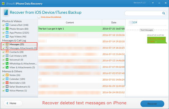 Recover Deleted Text Messages from iPhone Directly