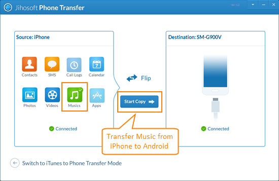 Transfer iPhone Music to Android without iTunes
