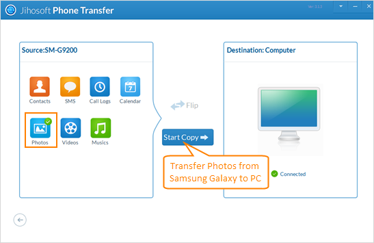 Transfer Photos from Samsung Galaxy to PC with Jihosoft Phone Transfer