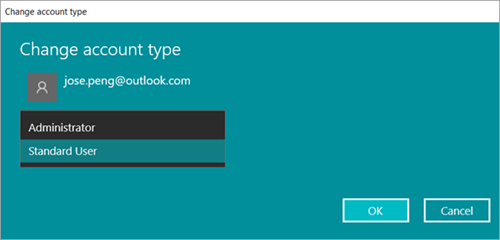 Change Windows 10 User Account Type as Administrator or Standard