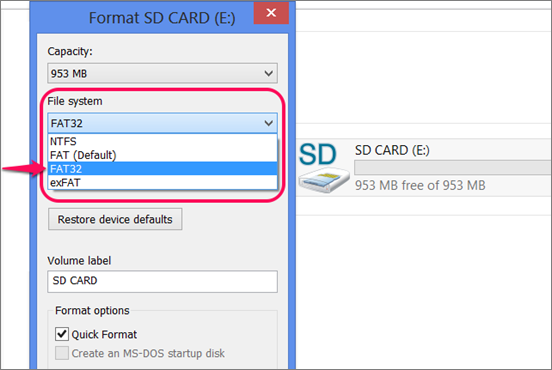 format micro SD card for Android