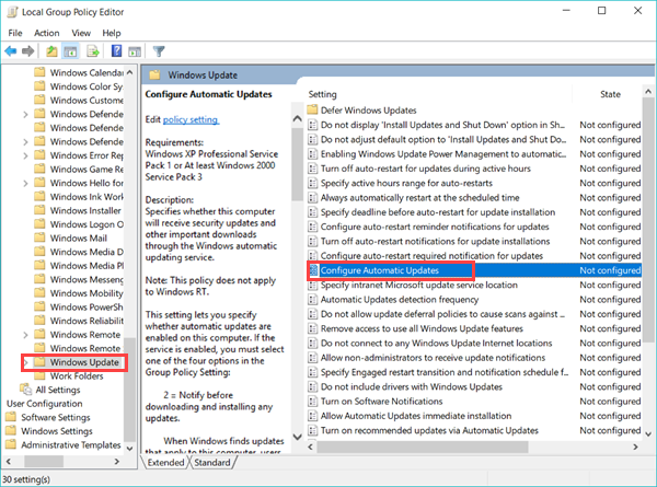 Stop Windows 10 Update with Group Policy Editor