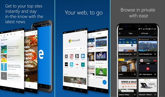 Microsoft Edge is one of the Top Best Web Browsers for Android