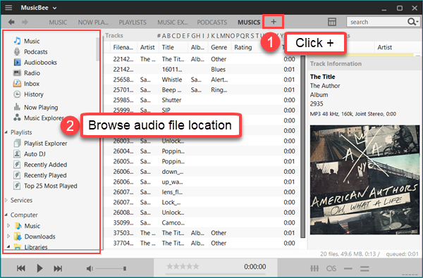 Click + icon to browse audio files