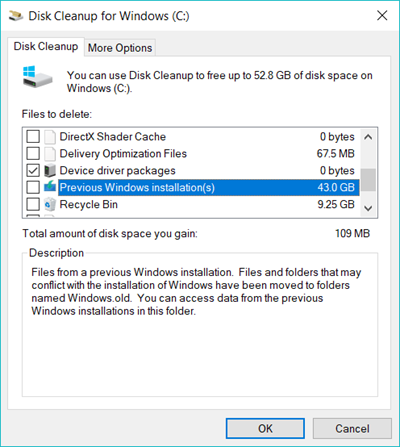 clean up system files to Clean up Windows 10 Space