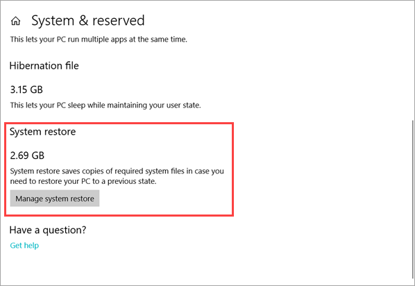 Delete system restore point in Windows 10