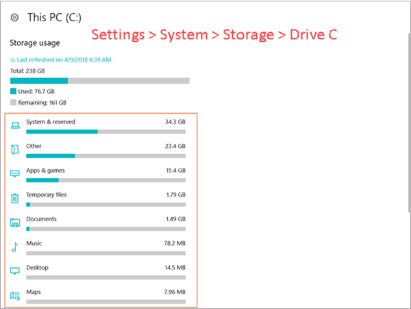 Analyze Windows 10 Disk Space Usage
