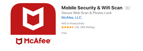 Mobile Security & Wifi Scan by McAfee is one of the top 8 Best Free Antivirus for iPhone/iPad in 2019.