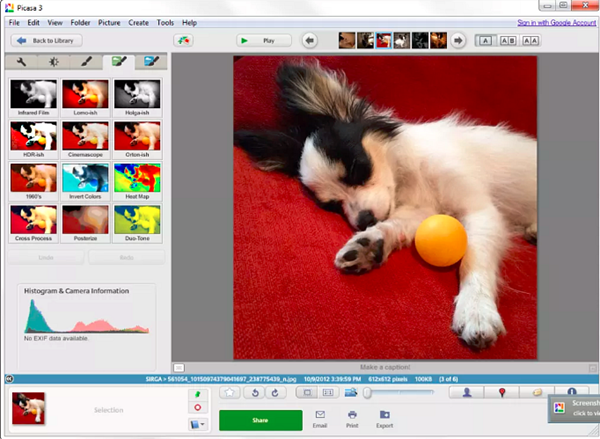 Picasa is one of the best 6 Free Photo Editor Softwares for Windows PC.