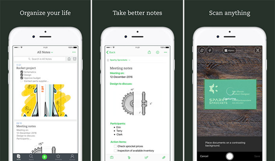 Evernote is one of the best Business Apps for iPhone Users to Track Work 2019.