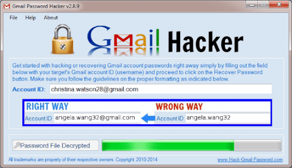 Hacking Gmail account using Gmail Pass Breaker