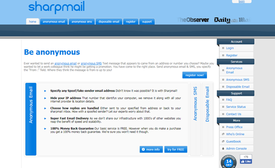 Sharpmail is one of the top Sites to Send Anonymous Messages from PC.