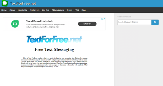 TextForFree is one of the top Sites to Send Anonymous Messages from PC.