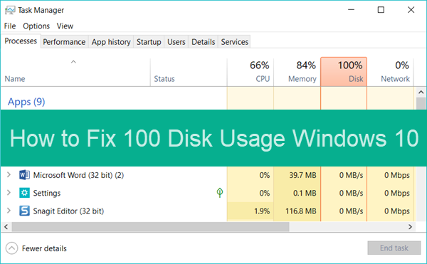 task manager shows 100 disk usage windows 8.1