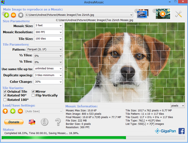 AndreaMosaic is best Photo Mosaic Maker Softwares for PC.