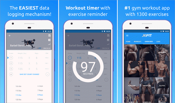 JEFIT Workout Tracker is one of the best Free Android Fitness Apps.