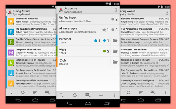 K-9 Mail is one of the best free Android Email Apps.