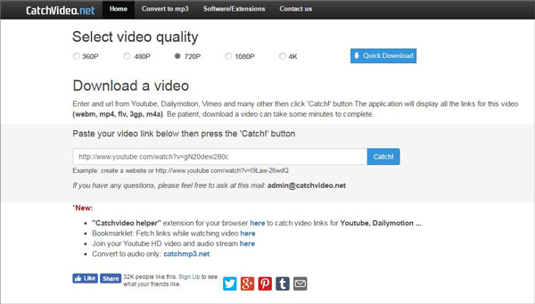 Using Catchvideo to Download Videos Online Mainly for YouTube 2019.