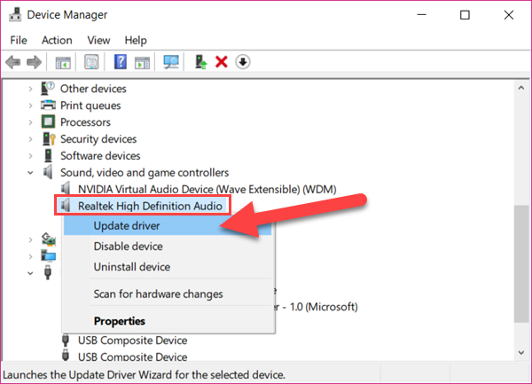 Fix No Sound on Windows 10 Laptop by Updating Drivers