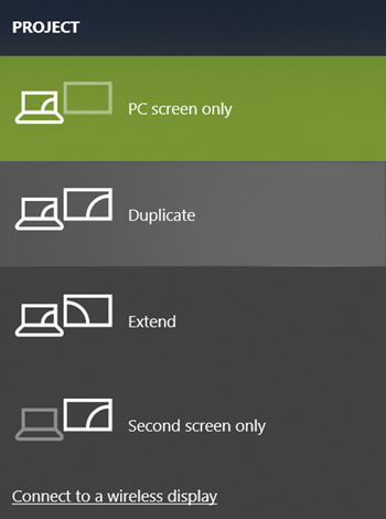 Choose Display Mode on Windows 10