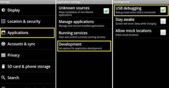 Enable and Disable USB Debugging on Android 2.3 Gingerbread and Earlier.