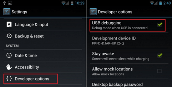 Enable and Disable USB Debugging on Android 4.0 Ice Cream Sandwich and 4.1 Jelly Bean.