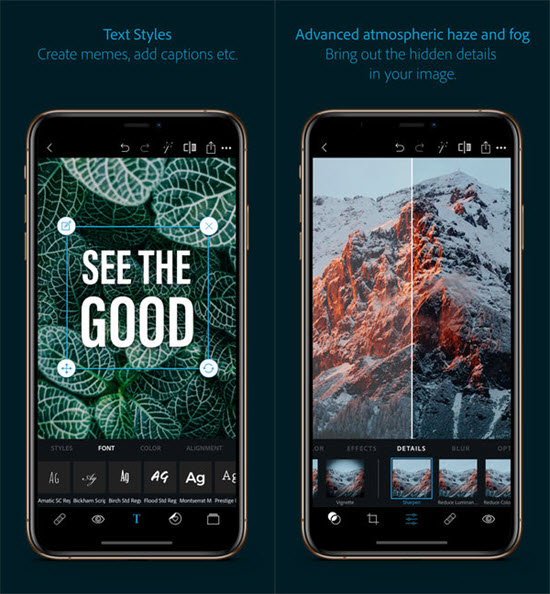 Adobe Photoshop Express is one of the Top Logo Maker Apps for iPhone.