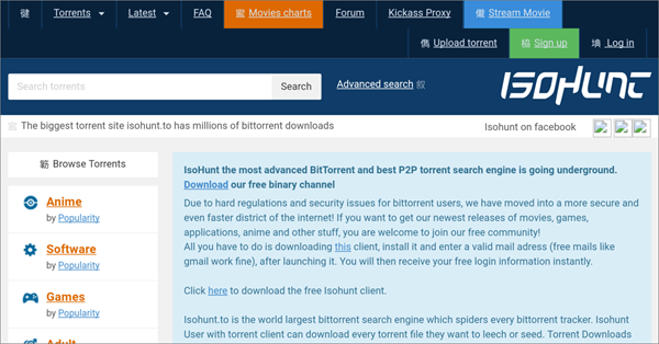 isoHunt is one of the Top Best Alternative Sites to YTS Torrent Movie Website.