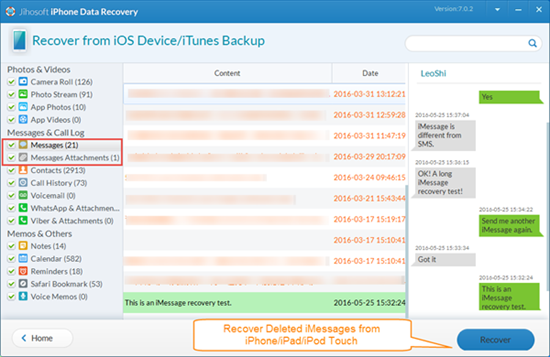 Recover Deleted iMessages from iOS Device without Backup