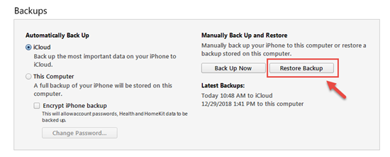 Steps to restore deleted iMessages from an iTunes backup