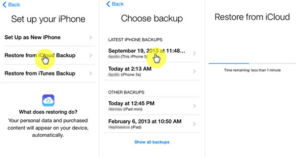 Download Photos from iCloud Backup to iPhone/iPad