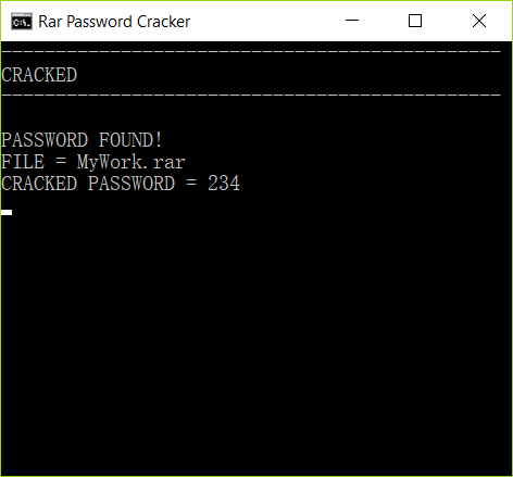 Steps to find RAR password with CMD