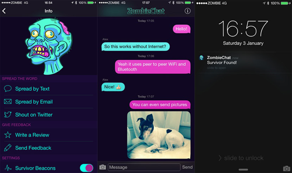 ZombieChat is Top Free Walkie Talkie Apps to Call and Text without Internet Connection.