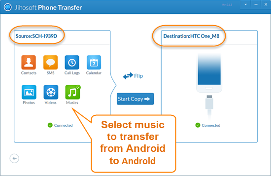 Sync Music from Android to Android with Phone Transfer Software in One Click