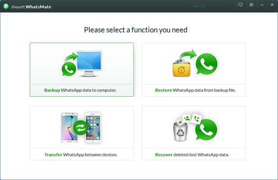 Using Jihosoft WhatsMate to backup your WhatsApp chats to computer
