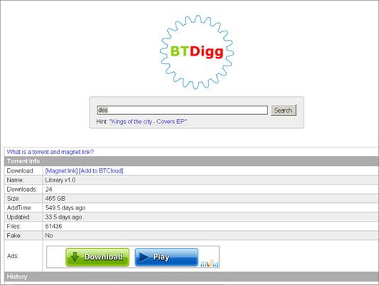BTDigg is one of the Best Alternative Websites to TorrentKing.