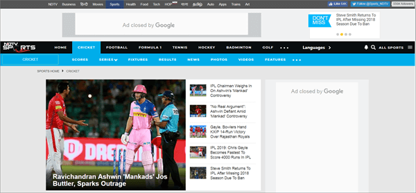 Cricket NDTV is best Streaming Sites to Watch Live Cricket Streaming and Scores.