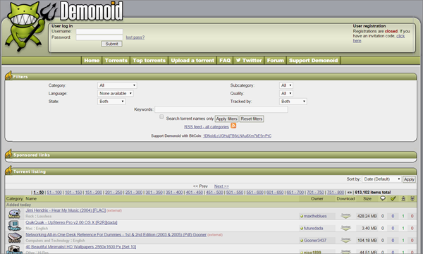 Demonoid is one of the Best Alternative Websites to TorrentKing.
