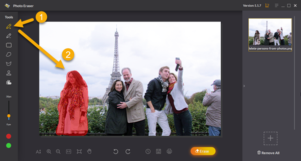Remove the unwanted objects from the photo background with Jihosoft Photo Eraser editor.