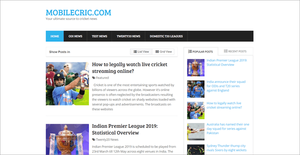 Mobilecric is best Streaming Sites to Watch Live Cricket Streaming and Scores.