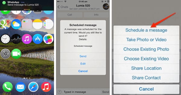 Here are the steps to schedule iPhone WhatsApp messages