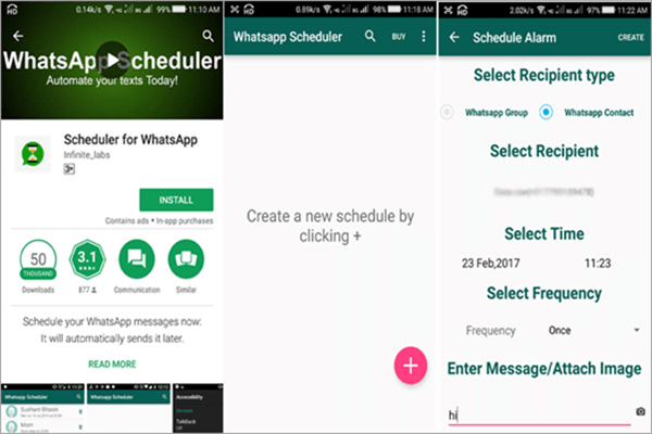 Using Scheduler for WhatsApp to Schedule WhatsApp Messages On Android.