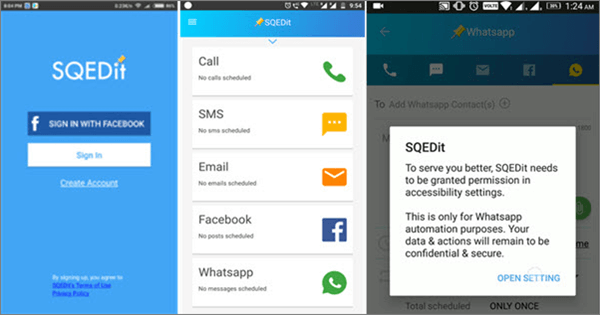 Using SQEDit Appto Schedule WhatsApp Messages On Android.
